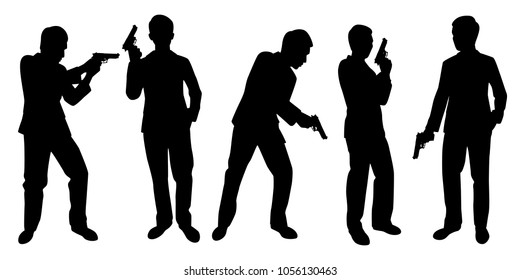 Business man with gun silhouette vector. Spy set.