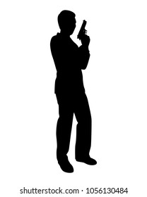 Business man with gun silhouette vector. Spy.