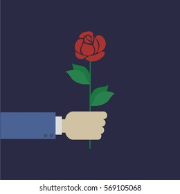 Business man hand hold rose flower. Rose  Vector Illustration