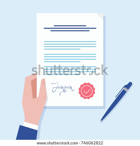 Business Man Hand Holding Contract Agreement Stock Vector Royalty - Legal document maker
