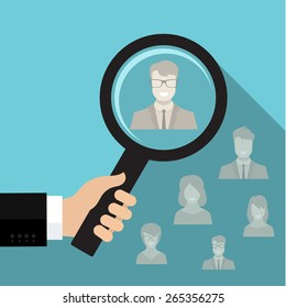 Business man hand holding magnifying glass for search a man. Recruitment or selection concept. Flat vector illustration