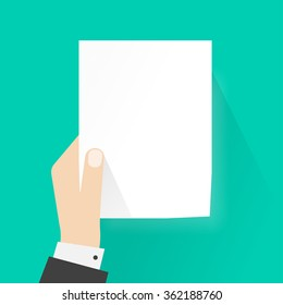 Business man hand holding paper mockup empty template vector illustration, a4 blank sheet list without text, concept of attention, announcement frame flat style design isolated on green