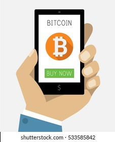 Business Man Hand Holding Smartphone with Bitcoin Icon on Screen Mobile Gadget Flat Design Mockup Vector EPS 10 Illustration