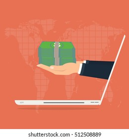 Business man hand with money from laptop computer for paying, on world map background. Vector illustration business concept design.