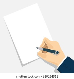 Business man hand with pen writing on paper. Man signs document. Space for text. Concept in flat design. Vector illustration