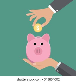 Business man hand put gold coin in pink piggy bank on green background vector illustration in flat design. infographics web design elements