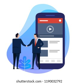 Business man hand shaking deal agreement. Video content creator on smart phone. Digital information. vector