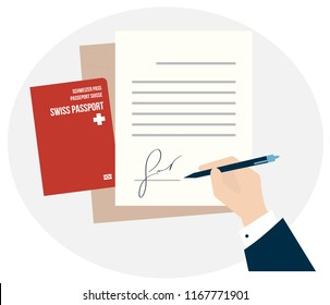 Business man hand sign fake signature document vector illustration, person hold contract signed visa application. Swiss citizenship biometric passport. Travel or Immigration to Switzerland, Swiss alps
