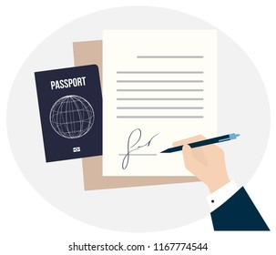 Business man hand sign fake signature document vector illustration, person hold contract signed application. World Passports with map earth biometric. concept of international citizenship, visa free