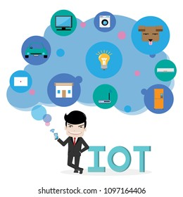 business man handle smartphone connect with various things on blue cloud, iot and network connect concept,vector and illustration