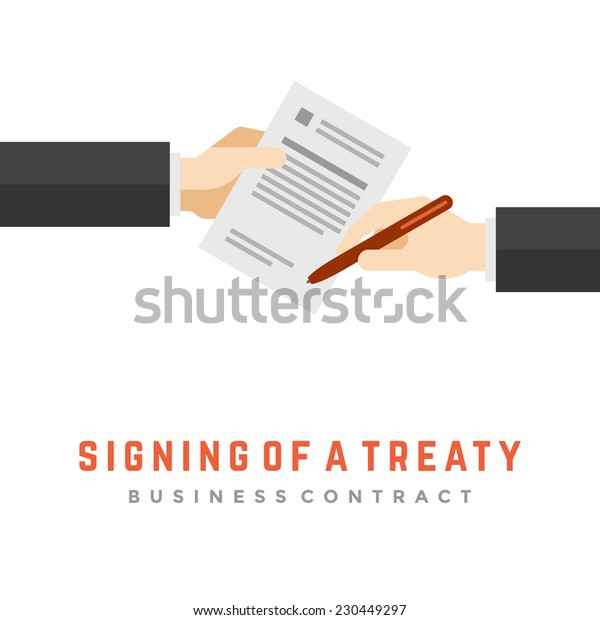 Business man hands holding contract and pen, signing of a treaty business contract flat design vector illustration