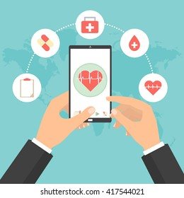 Business man hands point to smart phone tablet screen for health check concept of telemedicine technology. Vector illustration cloud internet of things technology trend.