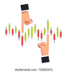 Business man hands pushing index candlestick chart of shares or equity. Business metaphor of stock market manipulation and financial investment forecasting. Flat style isolated vector illustration.