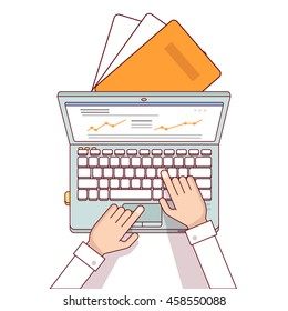 Business man hands using laptop computer making online sales analytics report. Modern flat style thin line top view vector illustration isolated on white background.