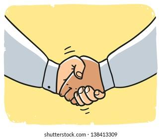 business man handshake. Cartoon illustration isolated on background