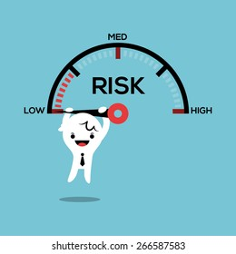 business man hanging on needle speed gauge low risk management conceptual illustration