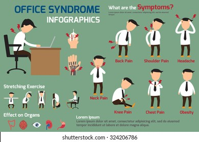 Business man have office syndrome symptoms and effect to organs infographics. vector illustration.