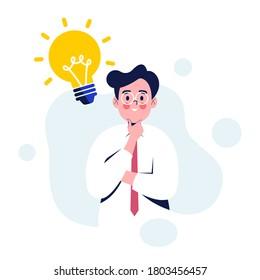 Business man having creative idea. Business man standing with idea light bulb above his head. Flat design vector illustration