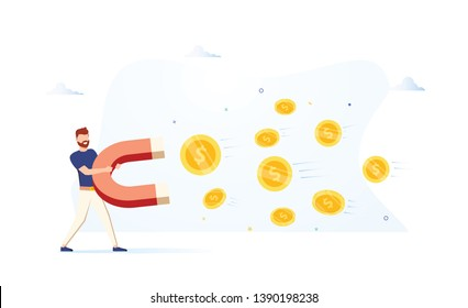 Business man holding a big magnet and attracting money. Investment attraction concept. Modern vector illustration. Business growth. Attract investitions startup, profit income. Business success