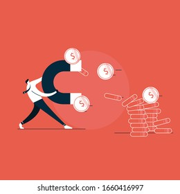 Business man holding a big magnet and attracting money, Investment attraction concept. Modern vector illustration
