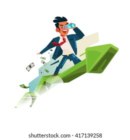 business man holding binocular on up graph. looking for money and successful concept - vector illustration