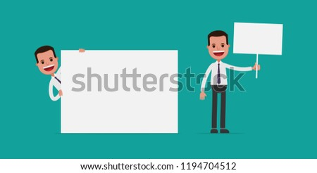 business man holding blank sign vector stock vector royalty free
