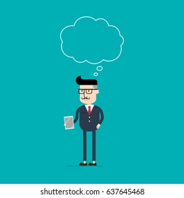 Business man holding digital tablet and speaking bubble on head, Business concept, Flat style vector illustration EPS 10.