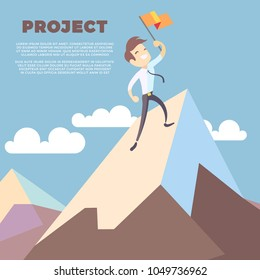Business man holding flag on mountain peak vector background. Successful leadership winner on mountain with flag illustration