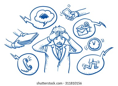 Business man holding his head in pain, surrounded by work icons, concept for stress, burnout, too much work, hand drawn doodle vector illustration