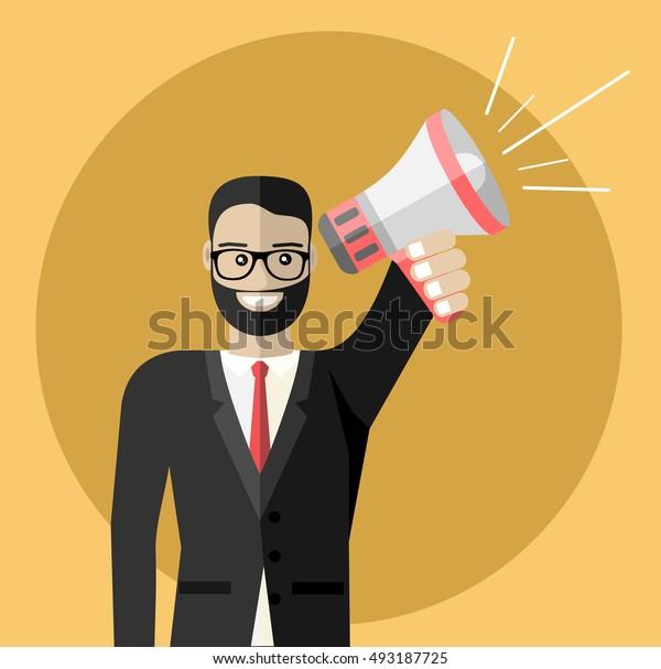Business man holding megaphone