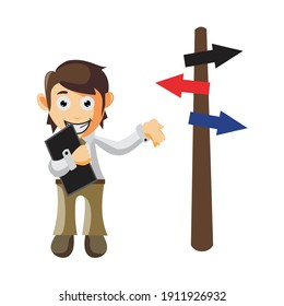Business man Holding Phone and arrow direction cartoon character Illustration design creation Isolated