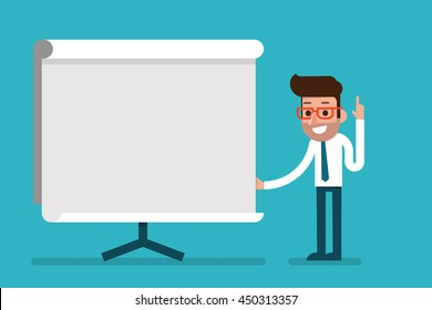 Business Man holding whiteboard - presentation flat style cartoon.