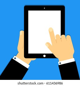 Business man holds black tablet iPad and pointing on screen. On blank screen you can place your advertising or screenshots applications. Vector illustration
