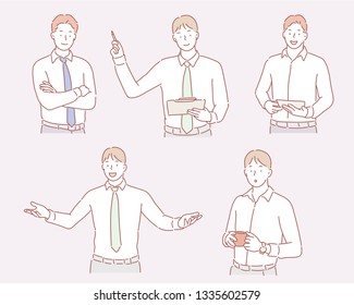Business man illustration in different emotions and poses. Hand drawn style vector design illustrations.