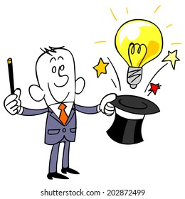 Business man to issue a bulb from silk hat