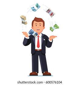 Business man juggling world reserve currencies. Speculating international money exchange rates. Trader throwing Dollars, Euros, Pounds, Yuan & Yen cash bundle straps in air. Flat vector illustration.