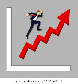business man jump or step forward. moving to the goal with growth diagram or chart. investment , marketing and financial opportunities. cartoon vector illustration.