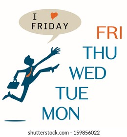 Business man jumping across the date in weekdays from Monday to reach to Friday with message ' I love Friday'. Business concept on happy Friday or weekend concept.