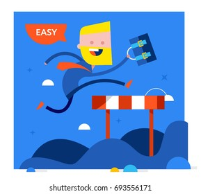 Business Man jumping over an obstacle on a running track on the way to succes. Vector modern flat style cartoon character illustration.