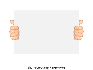 Business man keeps big white card. Vector sign board