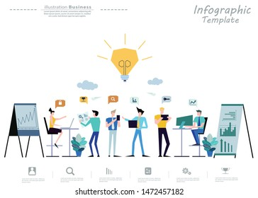 Business  man and  Lady  teamwork  Brainstorming,Contact communicate  with Cellphone,Tablet, Laptop,Computer, icon, paper  rocket fold - Idea   creativity  technology modern Infographics template.