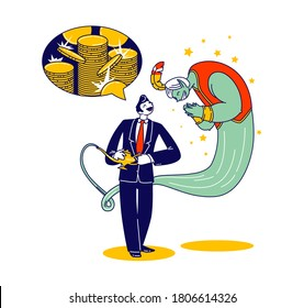 Business Man with Lamp Alladin and Gin. Big Money Dream. Office Manager or Corporate Worker Character Desire to be Rich and Wealthy Ask Geine to Give him Much Gold. Linear People Vector Illustration