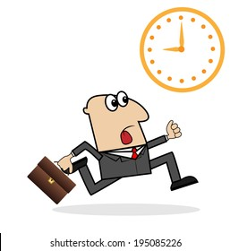 business man is late on work, vector illustration