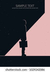 business man leaving dark building into the sunlight, career concept vector