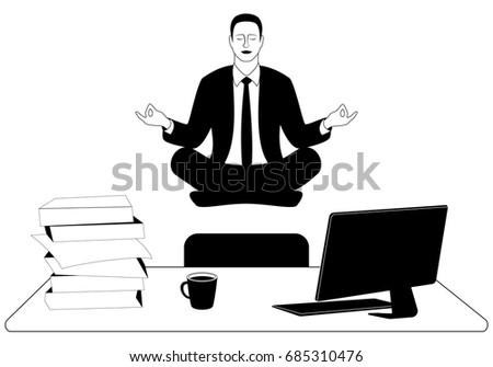 Business Man Levitate Padmasana Lotus Pose Stock Vector Royalty