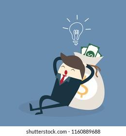 business man with ligth bulb,sleep near money bag ,saving investment