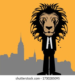 Business man with a lion head, vector illustration