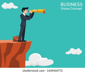Business man looking through a telescope on cliff. Business Vision Concept.Vector illustration.