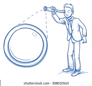 Business man looking through a telescope with a zoom of the lens, hand drawn doodle vector illustration