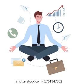 Business man in lotus pose set. Employee meditate against stress. Deadline concept. Idea of many work and few time. Flat vector illustration